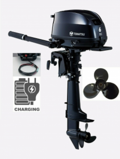 6HP Tohatsu SAIL PRO Long Shaft High Thrust 4-Stroke Outboard Motor with 12v Charging image